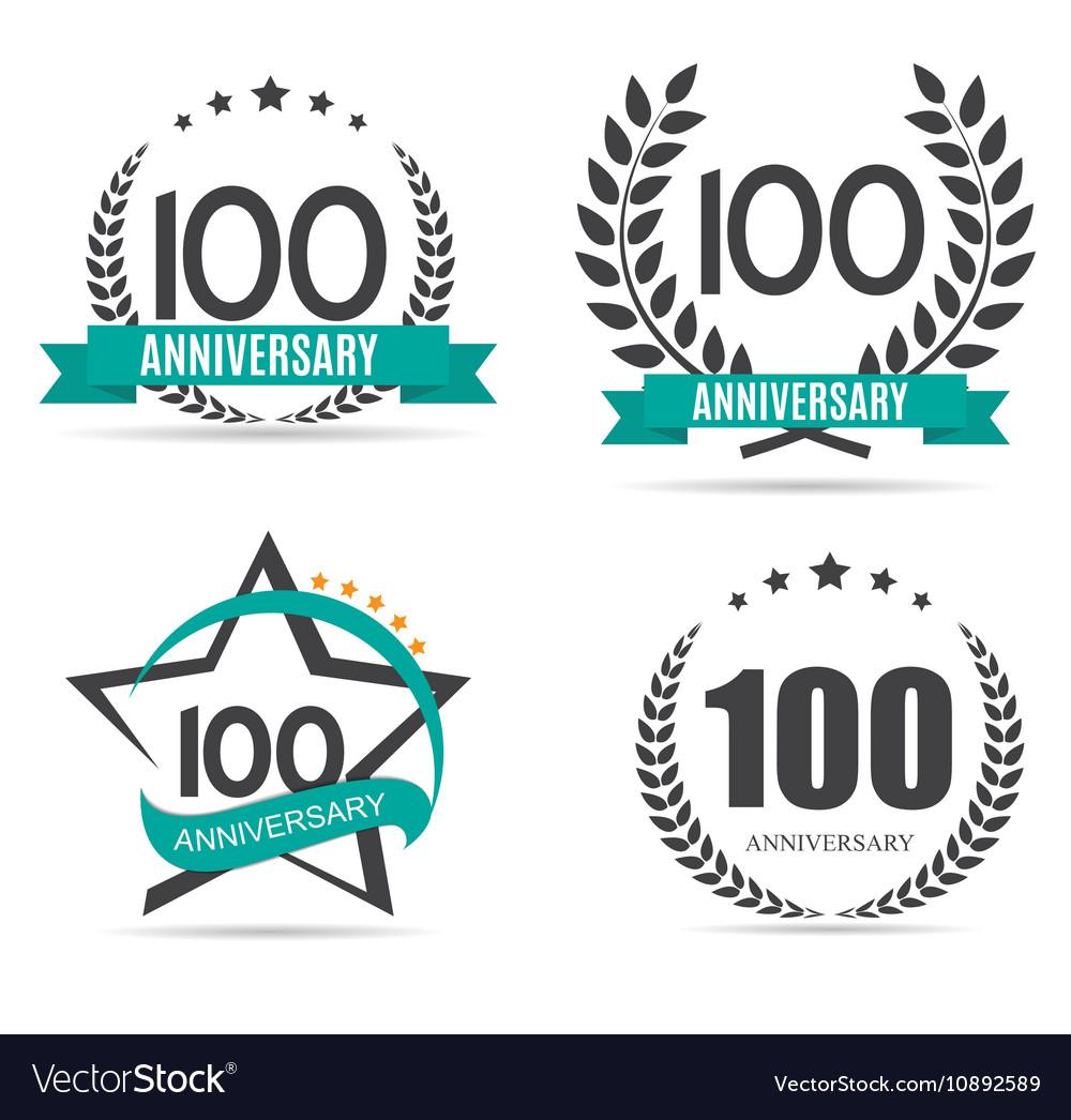 Template Logo 100 Years Anniversary Set vector image
