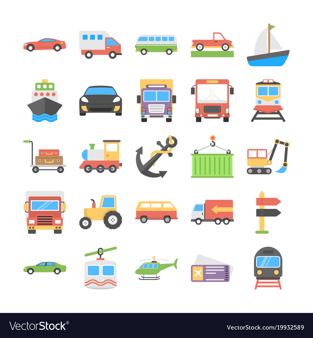 Transport flat icons collection