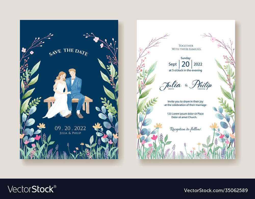 Wedding invitation cards bride and groom