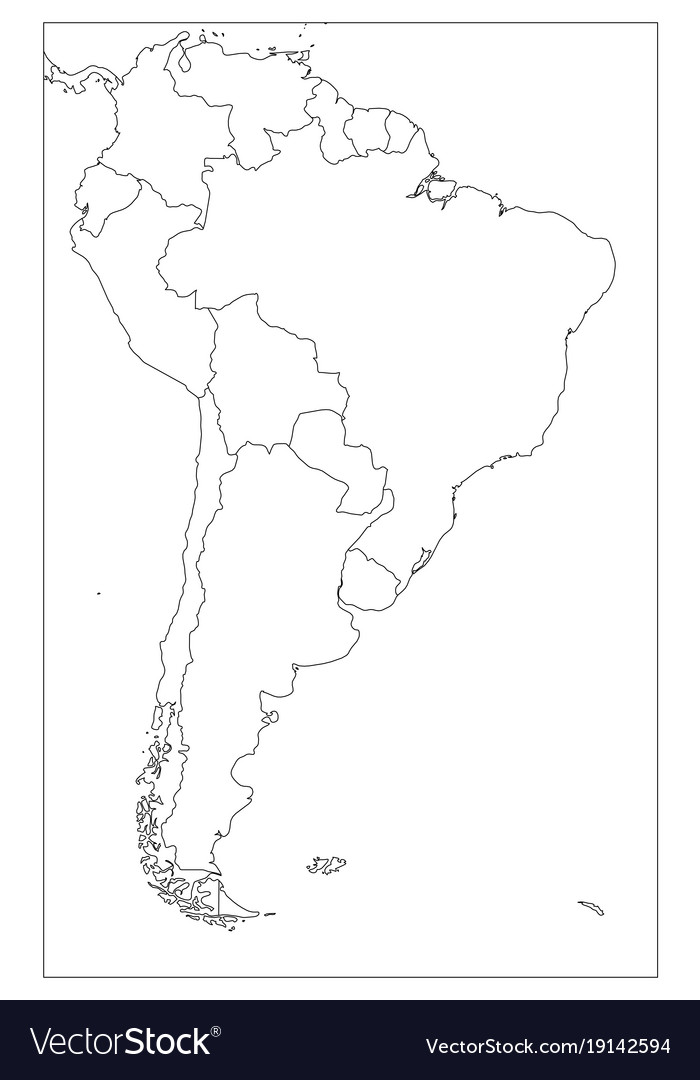 Blank political map of south america simple flat vector image on VectorStock