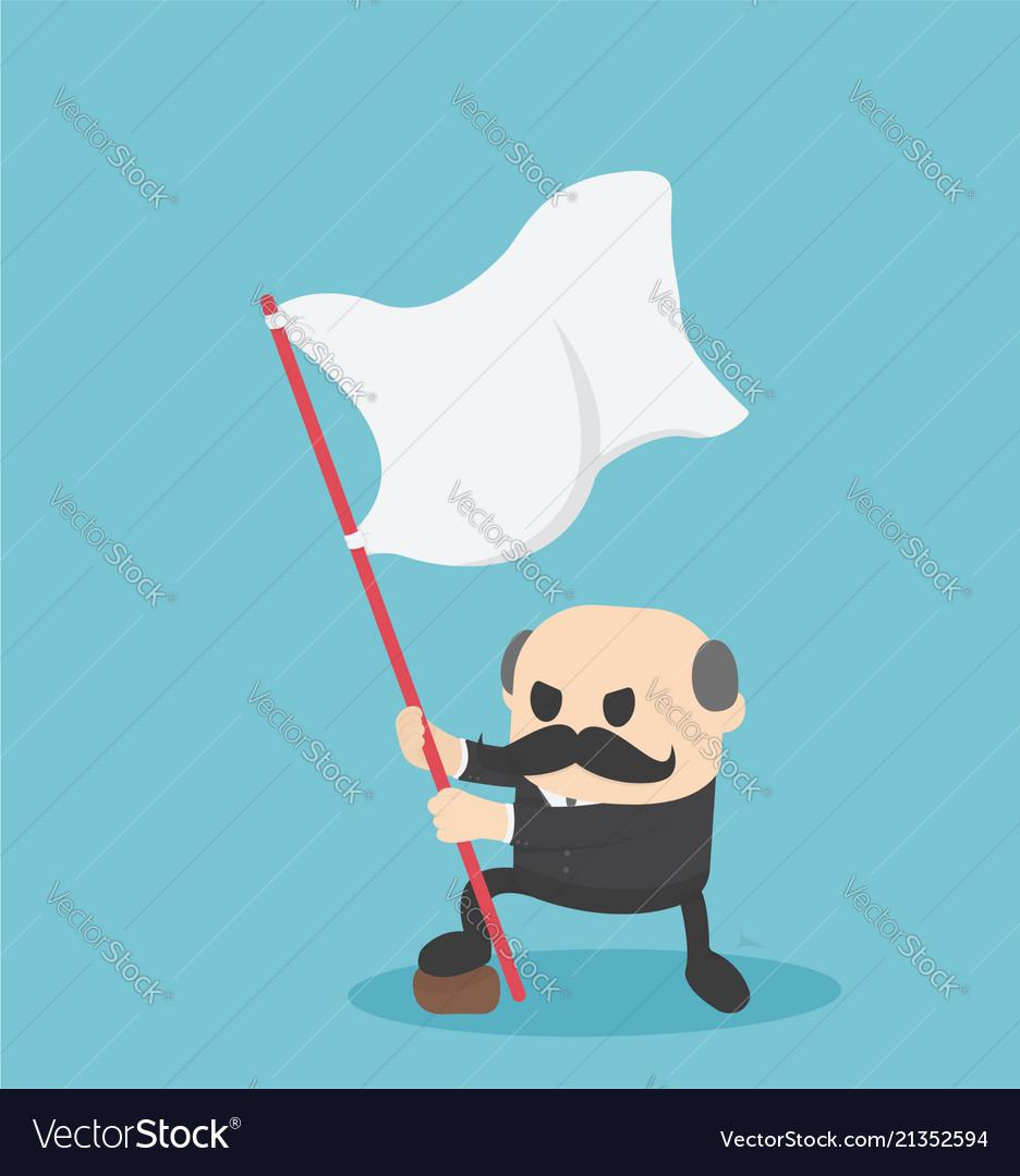 Boss businessman holding success flag standing