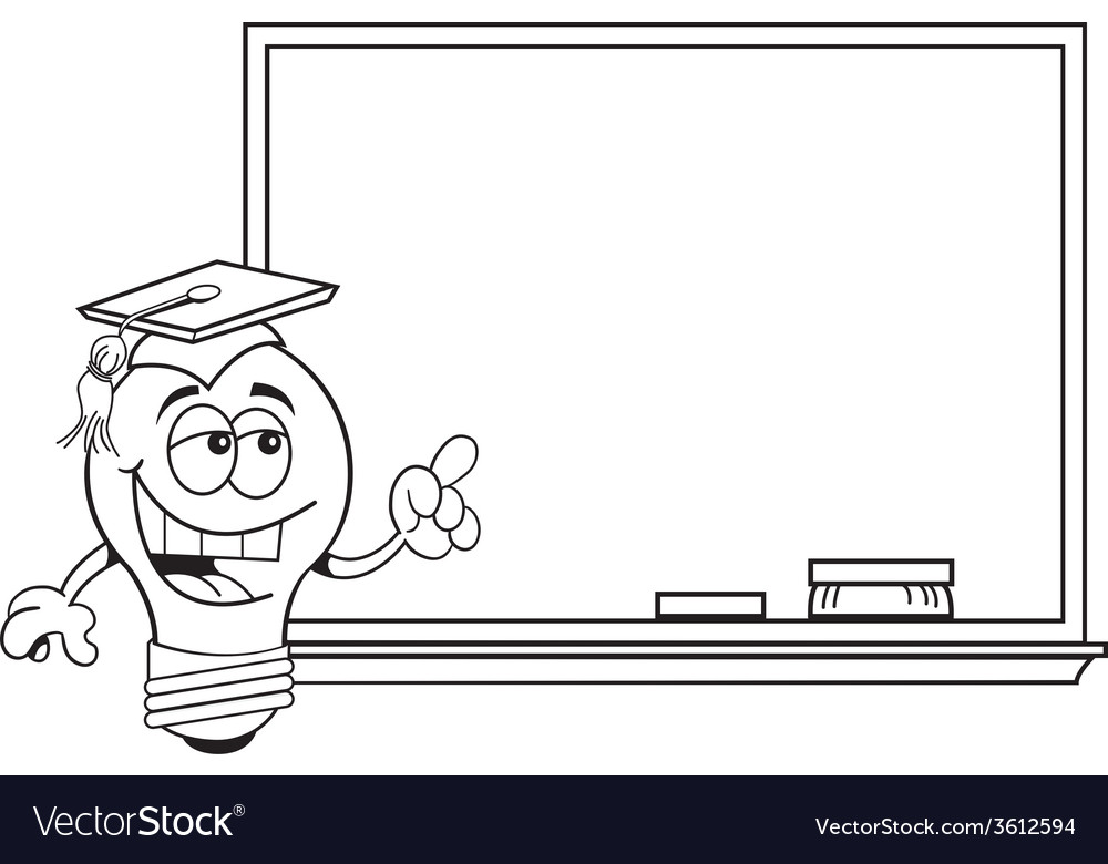 Cartoon Light Bulb Pointing To A Black Board Vector Image