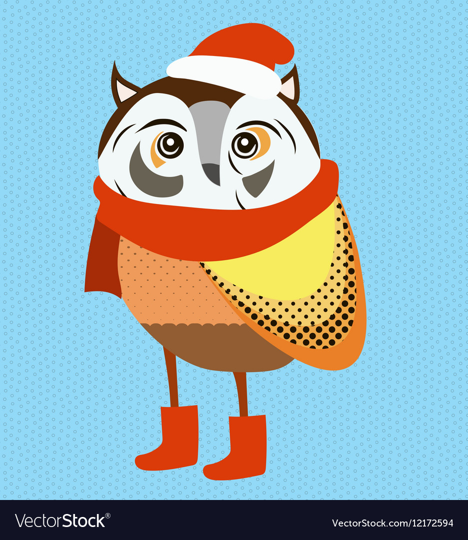 christmas owl wearing red santa hat and scarf vector image - Owl Christmas