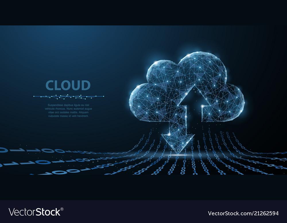 Cloud technology polygonal wireframe art looks