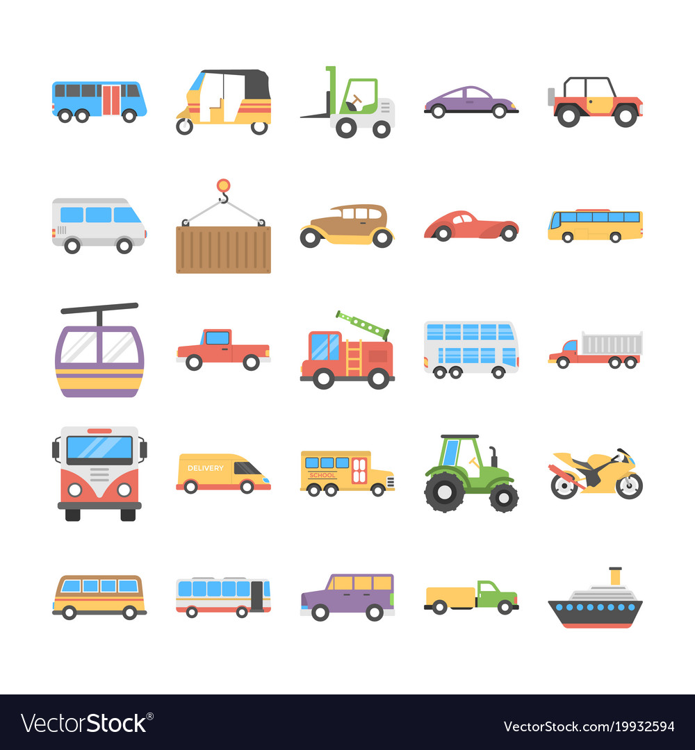 Colorful flat icons set of transport vector image