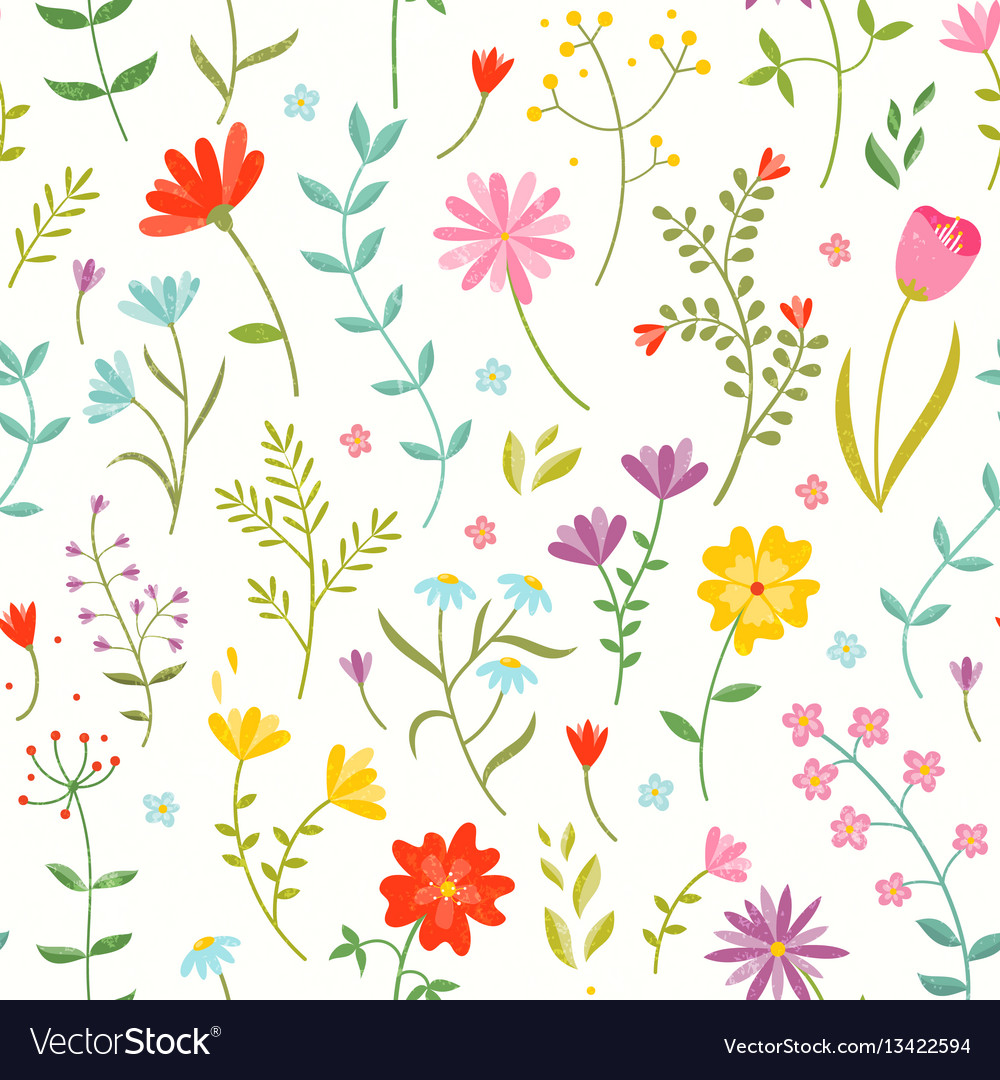 Cute seamless floral pattern with spring flowers