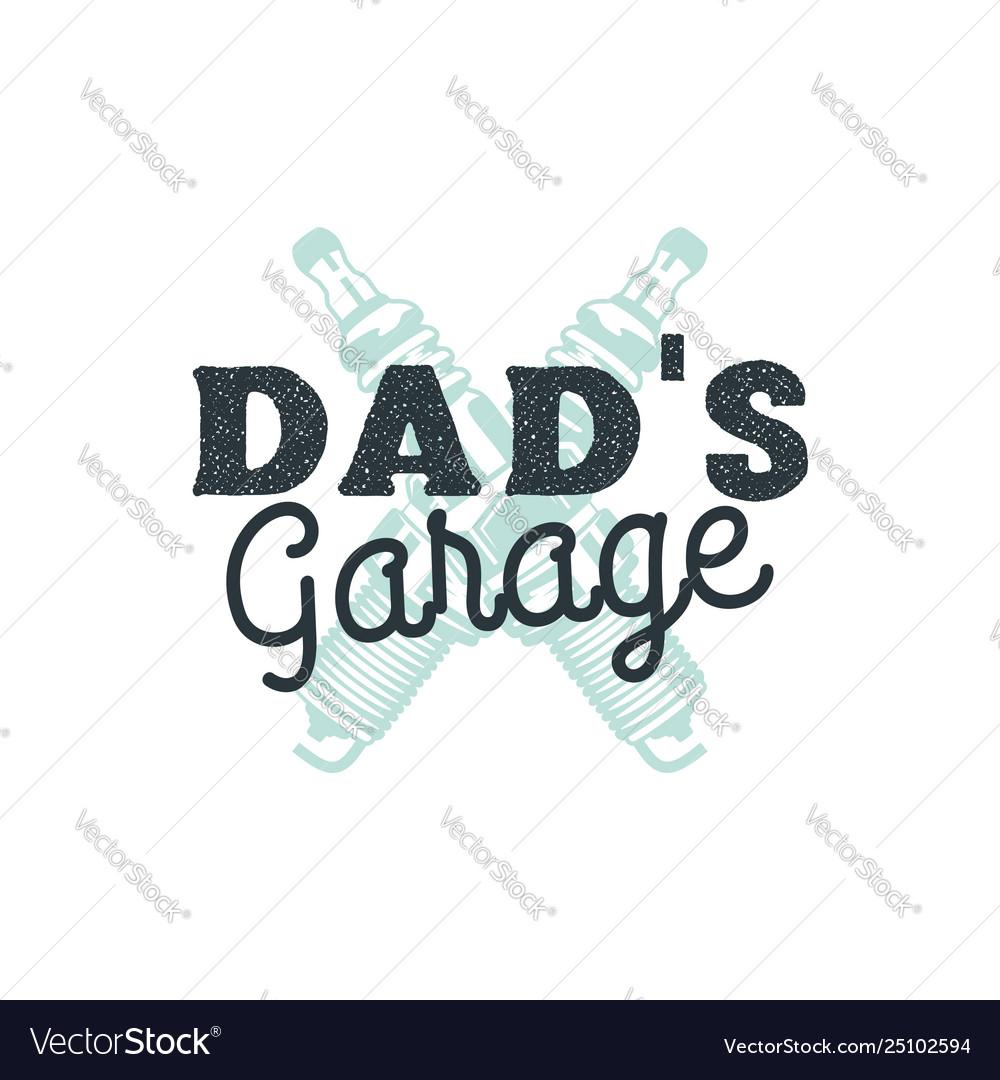 Dad garage logo badge with plug sparks autorepair