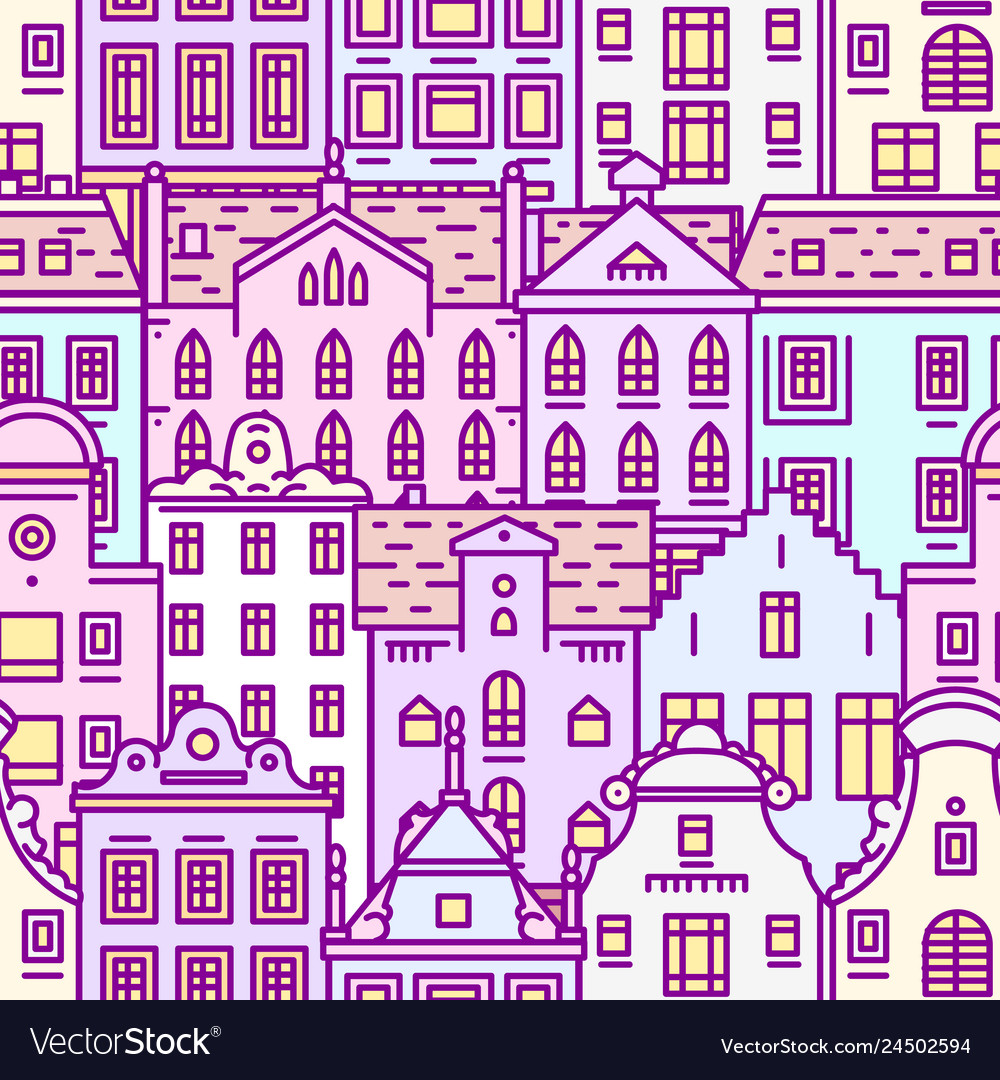 Europe house seamless pattern cute architecture