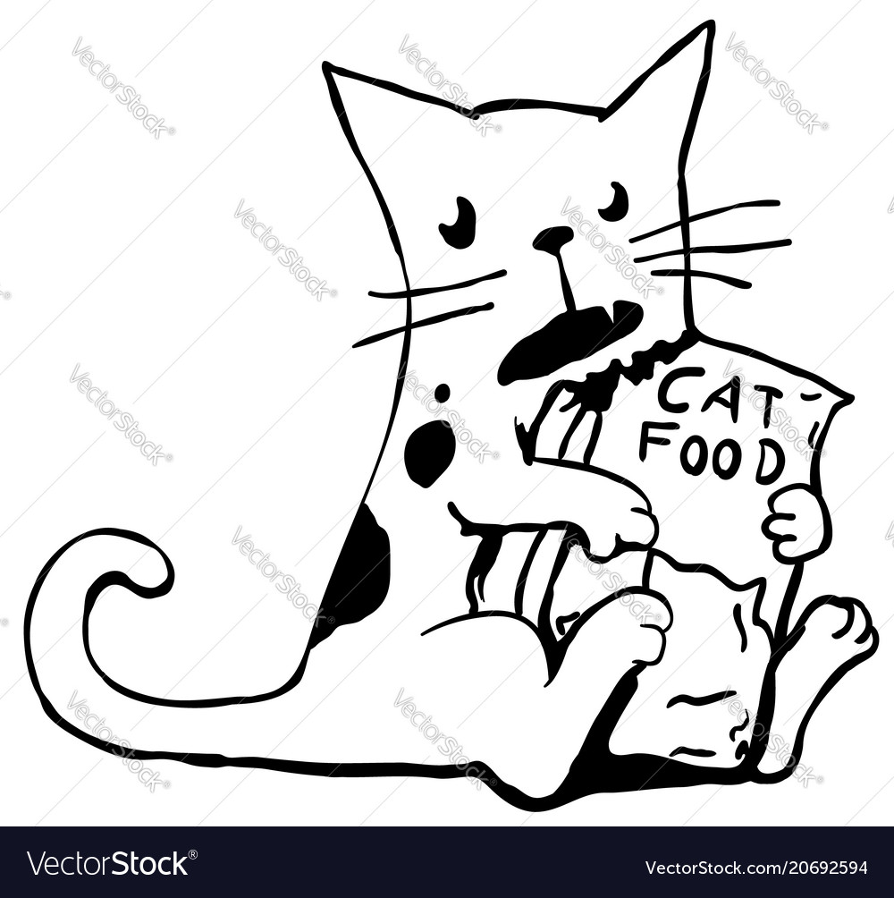 Greedy cat line drawing vector image