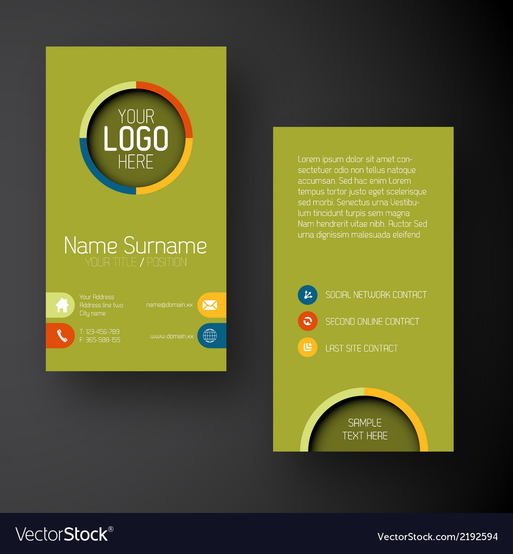 Modern green vertical business card template with vector image accmission