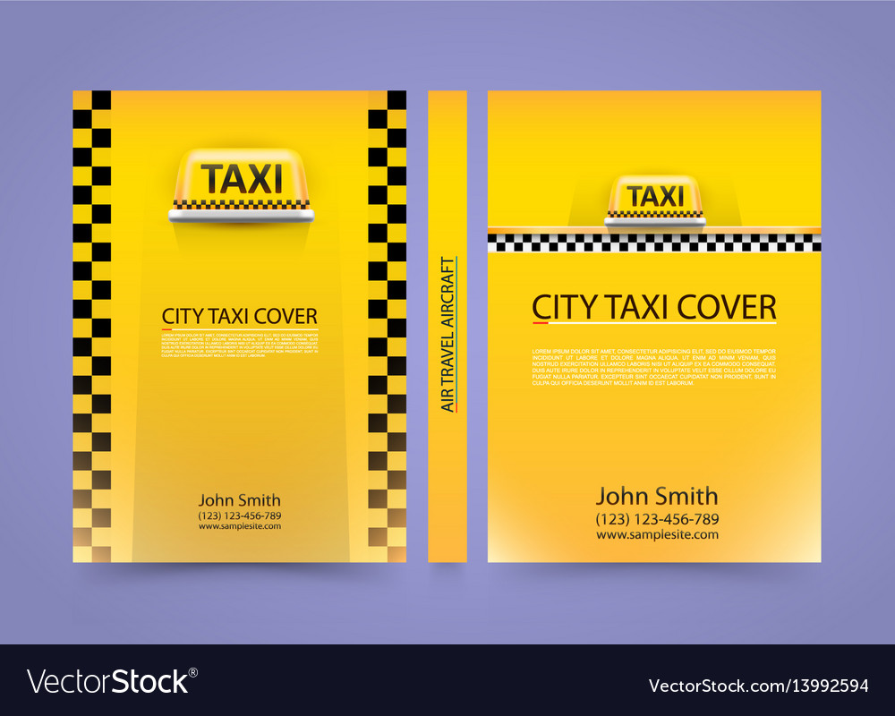 Taxi business card traffic cover a4 size paper vector image reheart Choice Image
