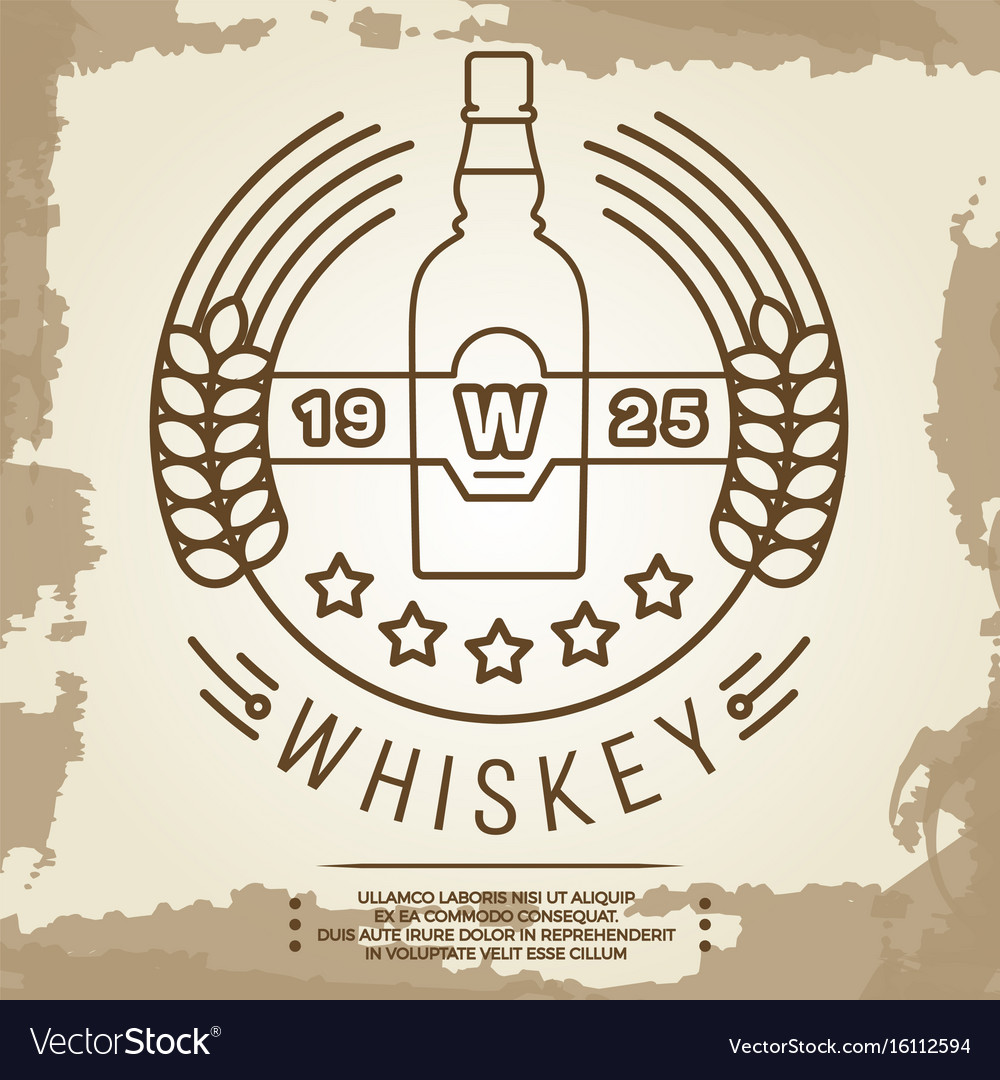 Vintage whiskey label design - retro drink poster vector image