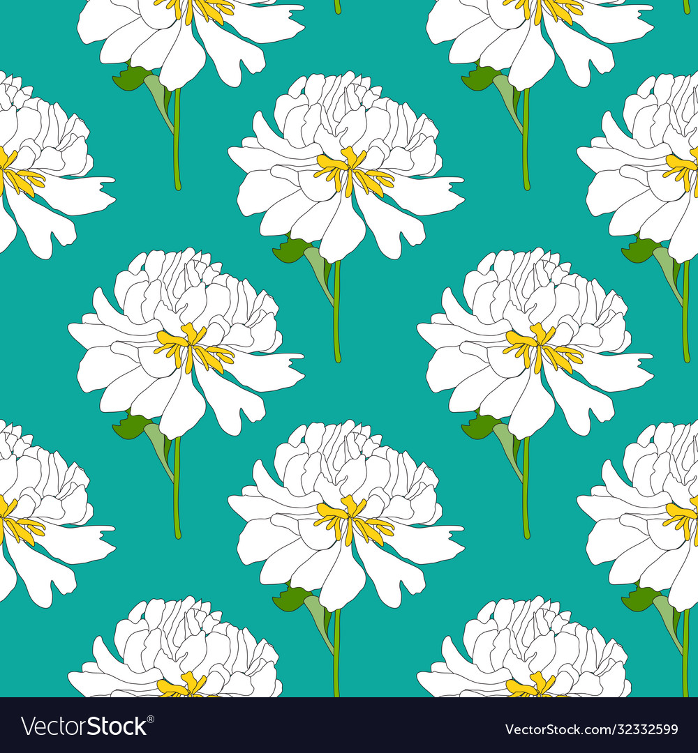 Abstract hand drawn peony flower seamless pattern