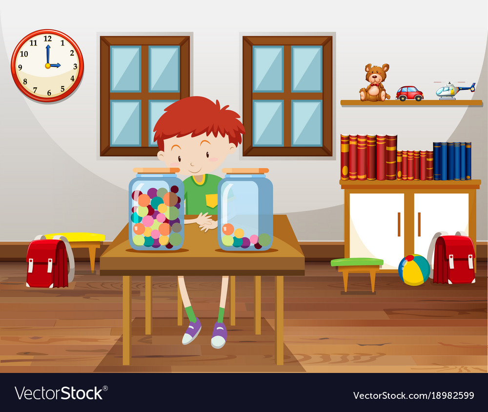 Boy and two jars with marbles in classroom