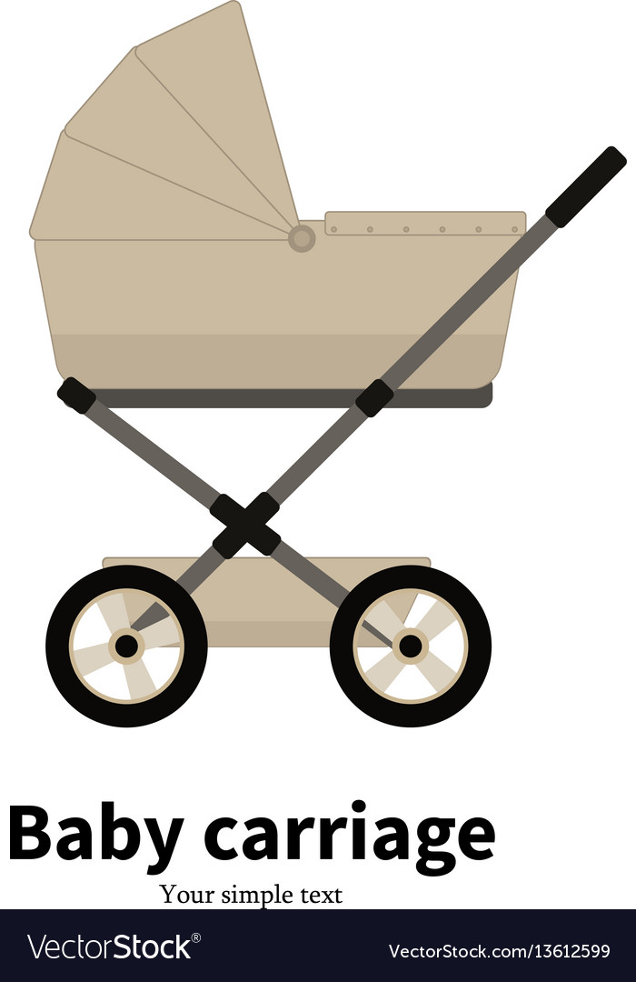 Cartoon beige baby carriage pram