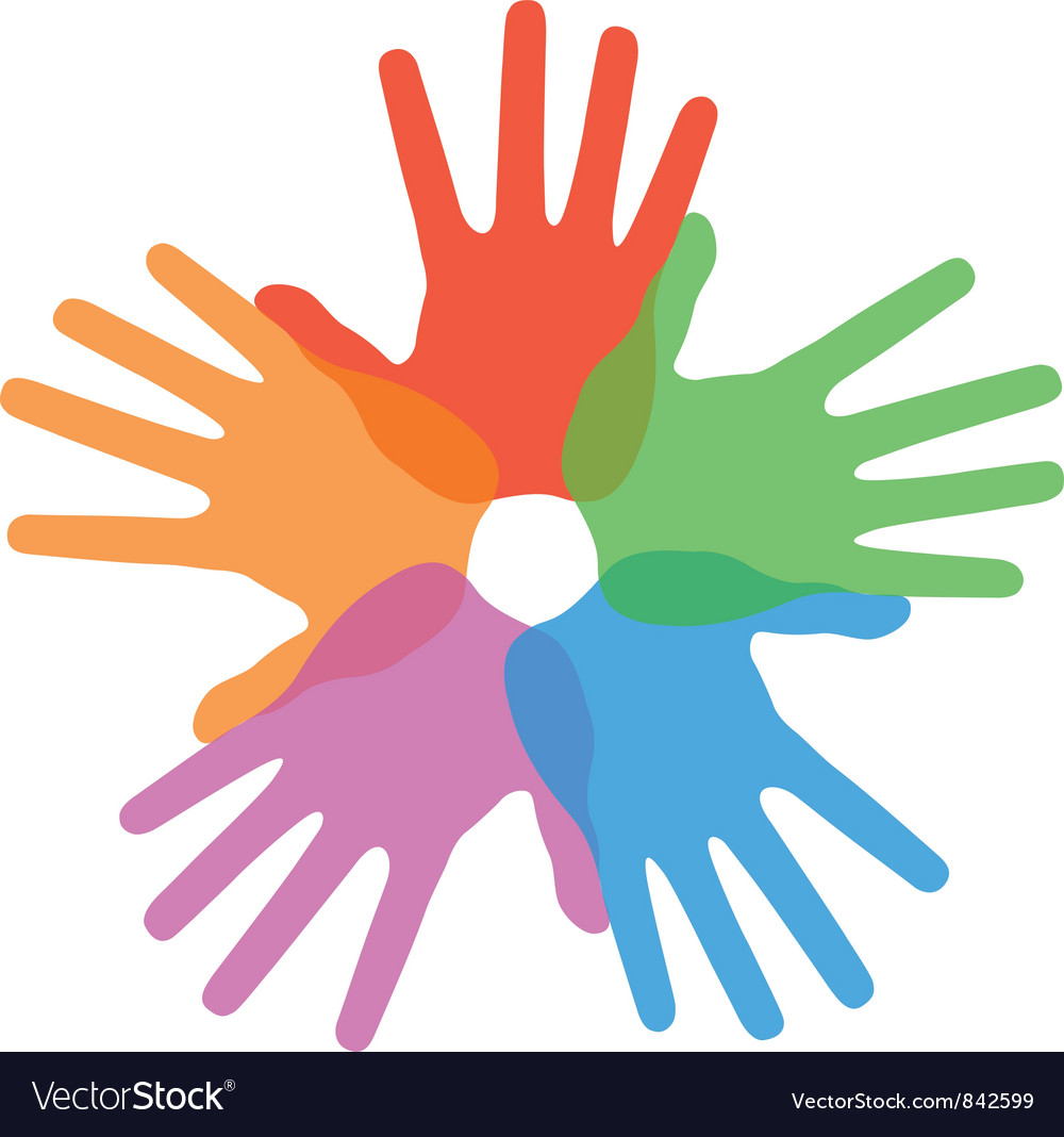 Circle of colorful hand prints vector image
