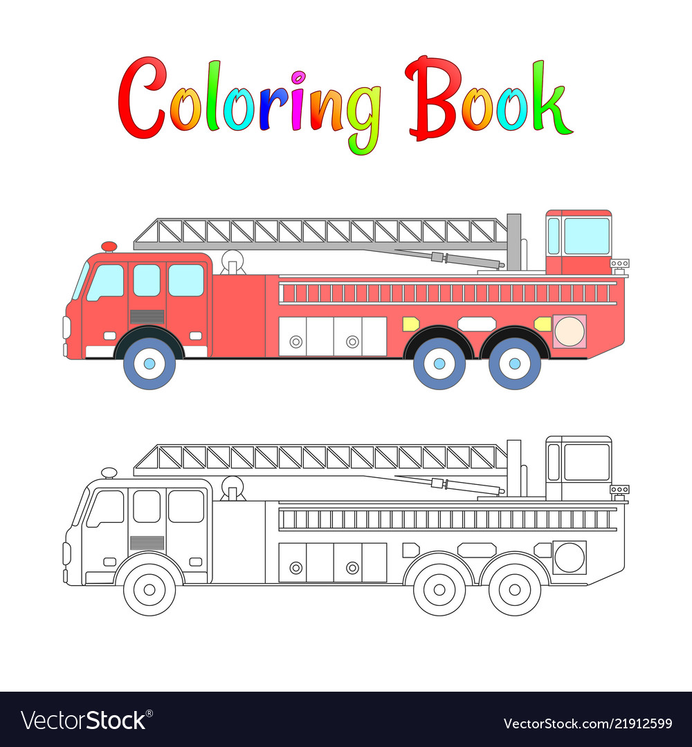 - Fire Truck Coloring Book Coloring Pages Royalty Free Vector