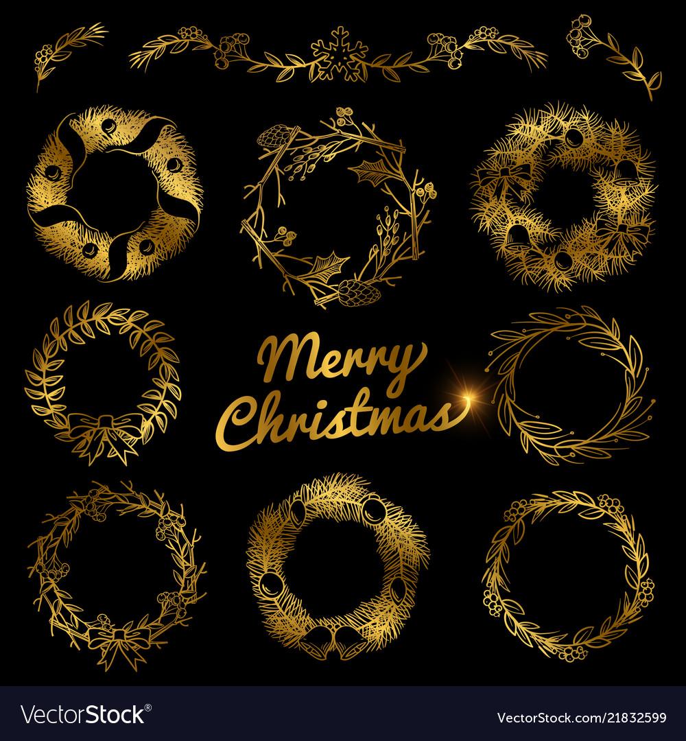 Gold christmas hand drawn wreaths border frames