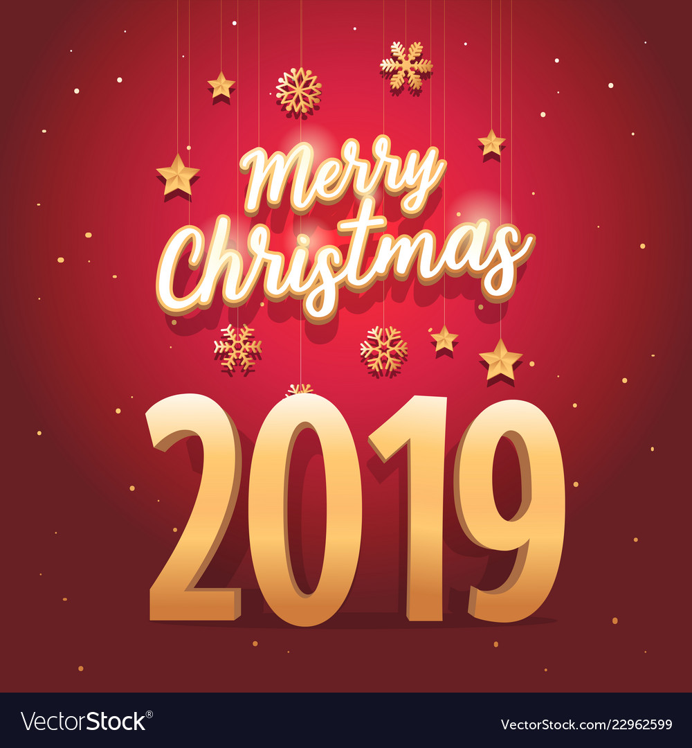 Merry christmas 2019 text with elegant