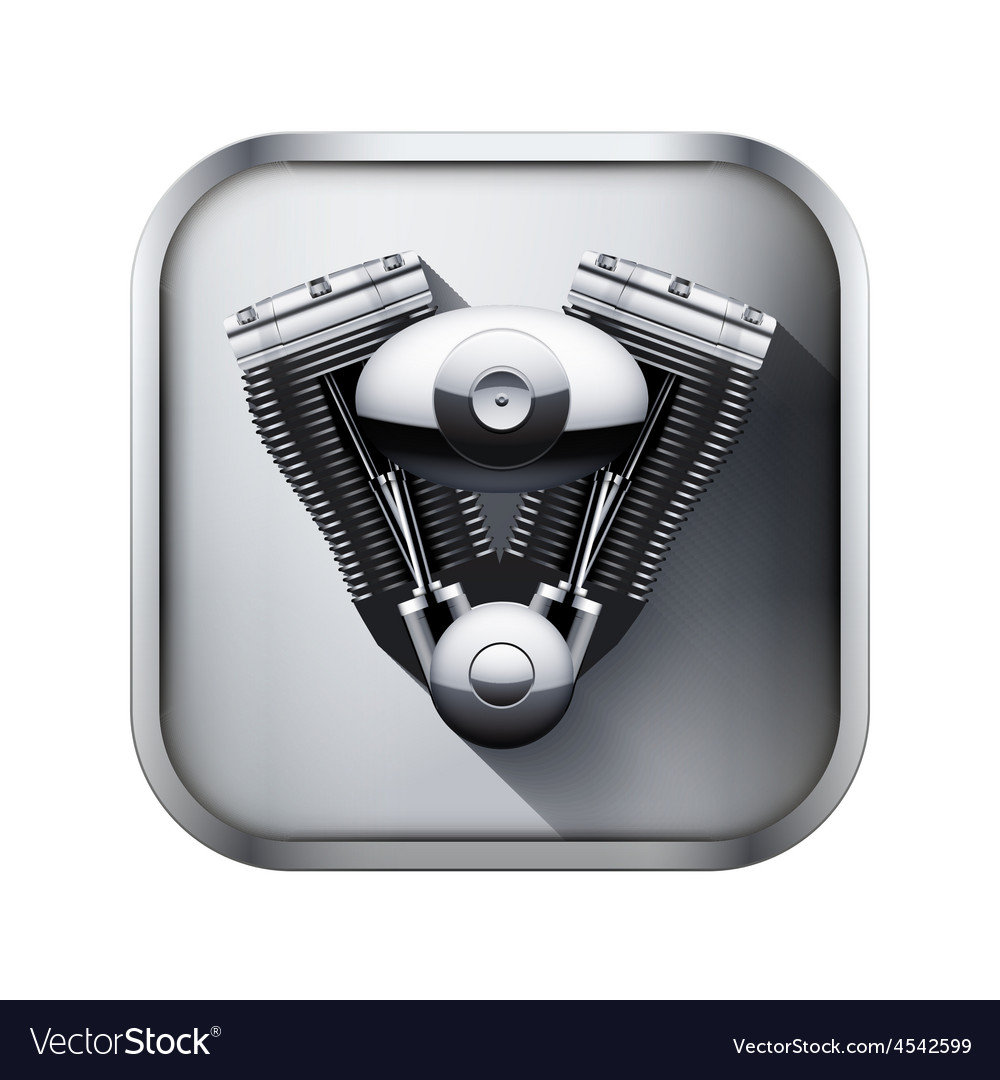 Metal icon with engine