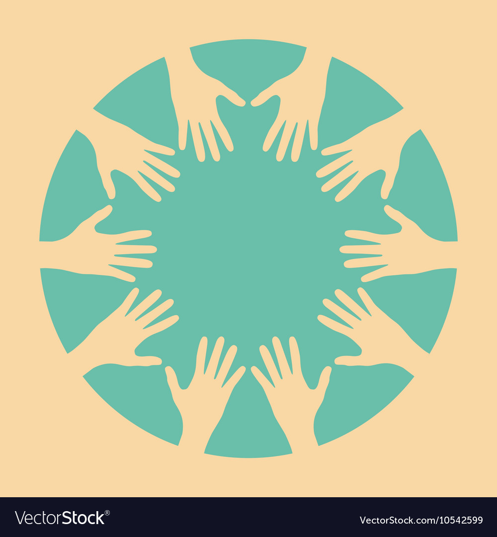 people hands united together royalty free vector image rh vectorstock com Reaching Hands Vector Hand Outline Vector