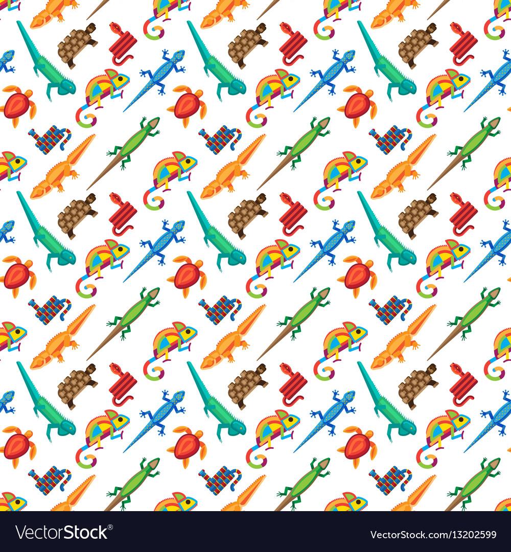 Reptiles animals seamless pattern