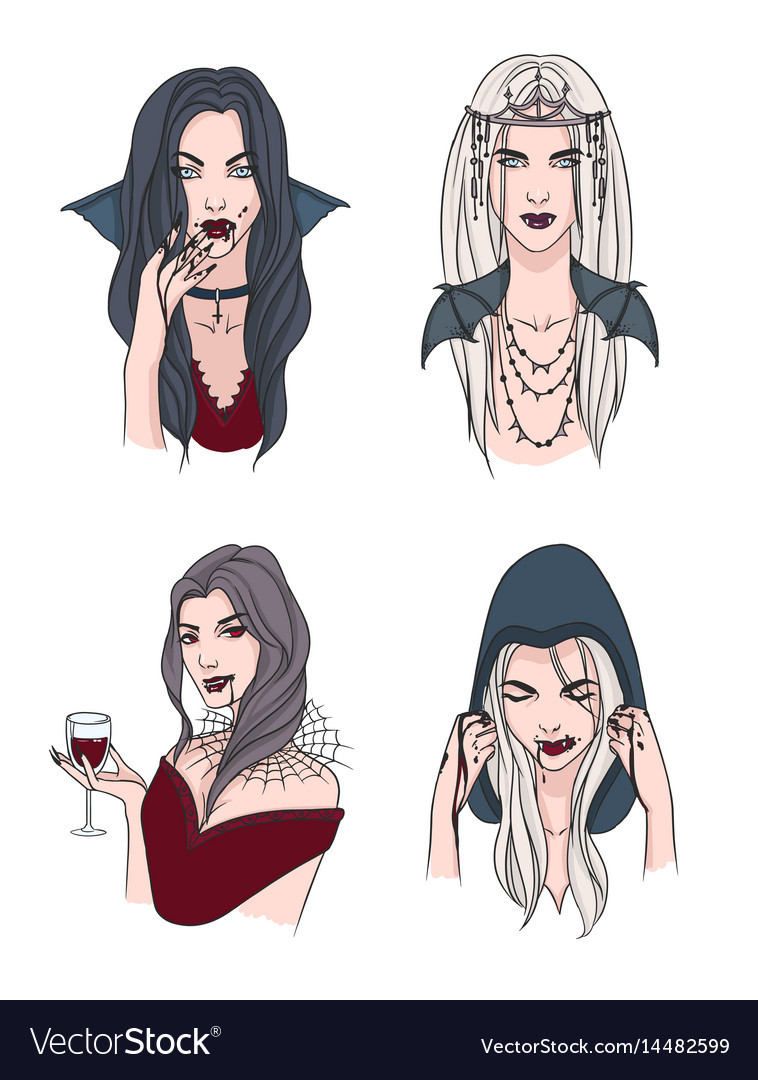 Set Of Various Vampire Girl Woman With Fangs And