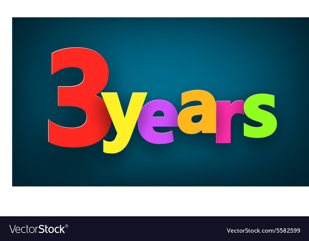 Three years paper sign