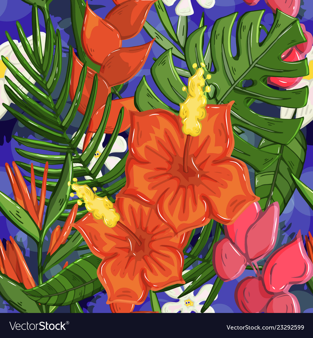 Tropical seamless pattern cute background
