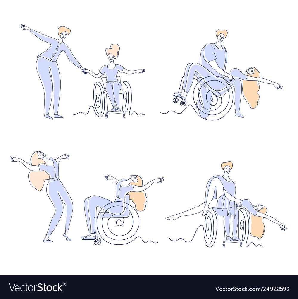 Wheelchair dance disabled people dancing set