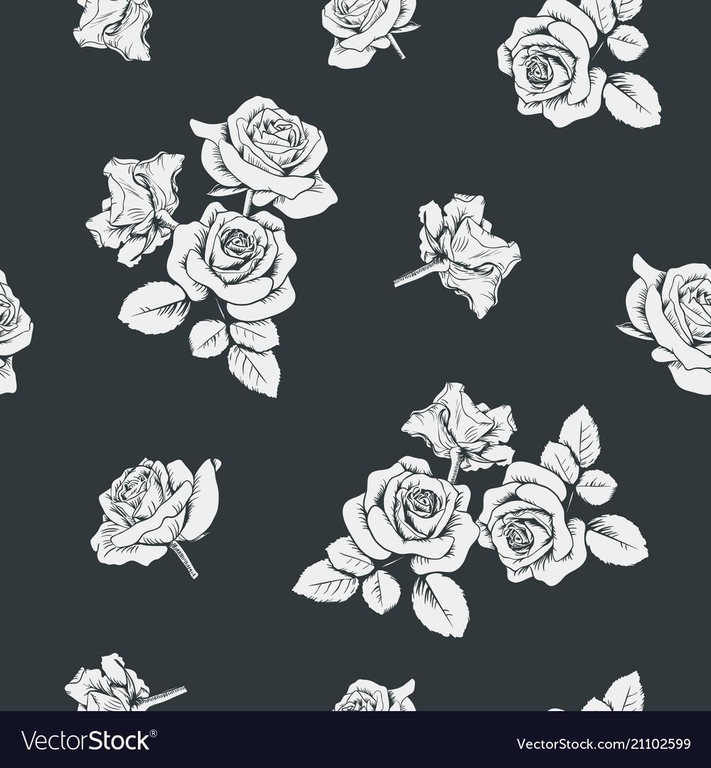 White roses on black background seamless pattern