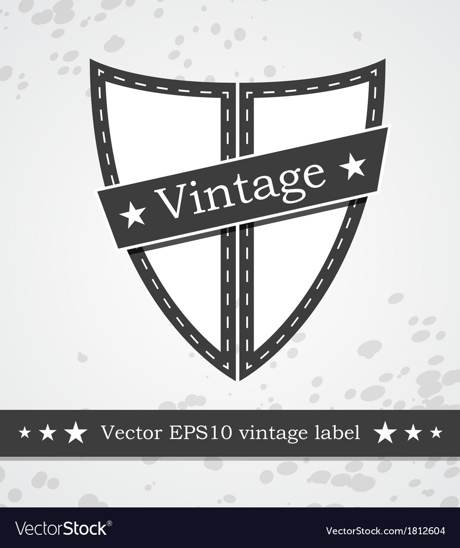 Black shield label with retro vintage styled
