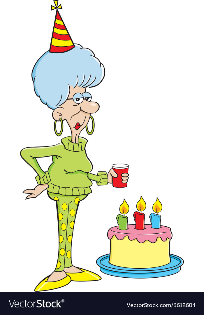 Terrific Cartoon Senior Citizen Lady With A Birthday Cake Vector Image Funny Birthday Cards Online Fluifree Goldxyz