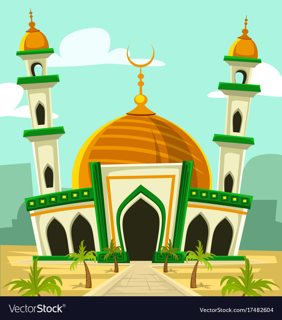 Cartoon typical mosque building with golden dome vector image