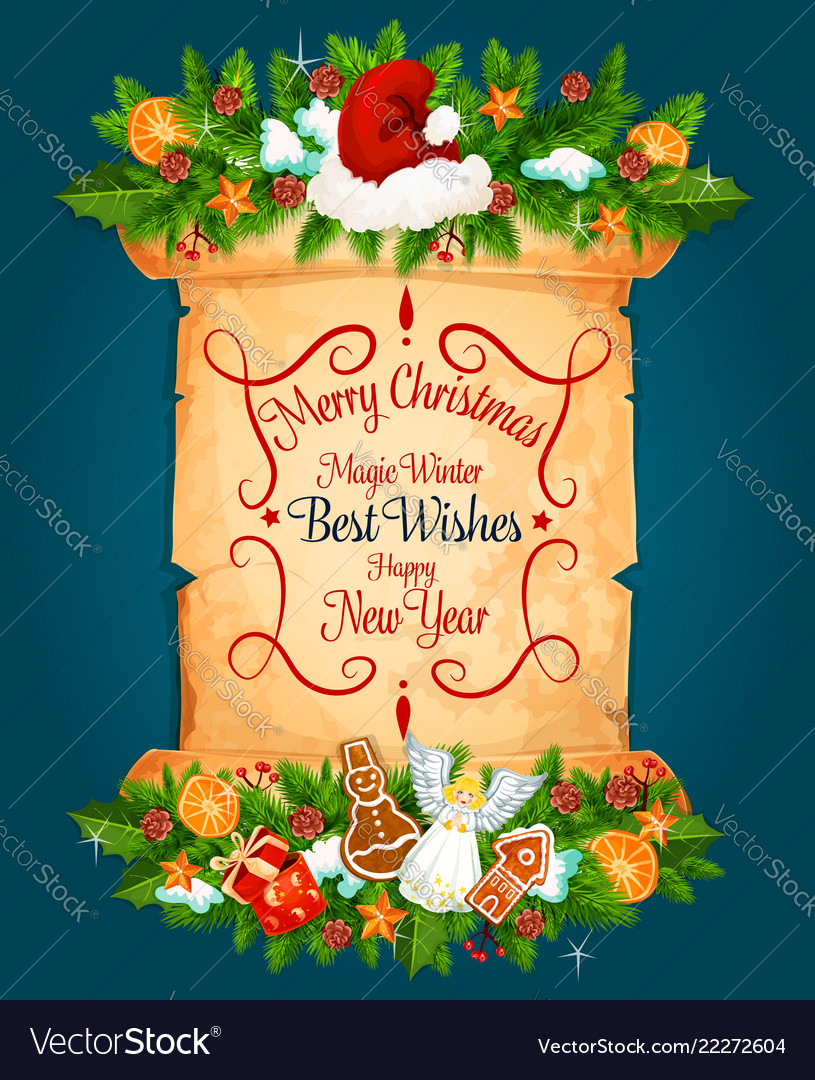 Christmas new year holiday greeting card Vector Image