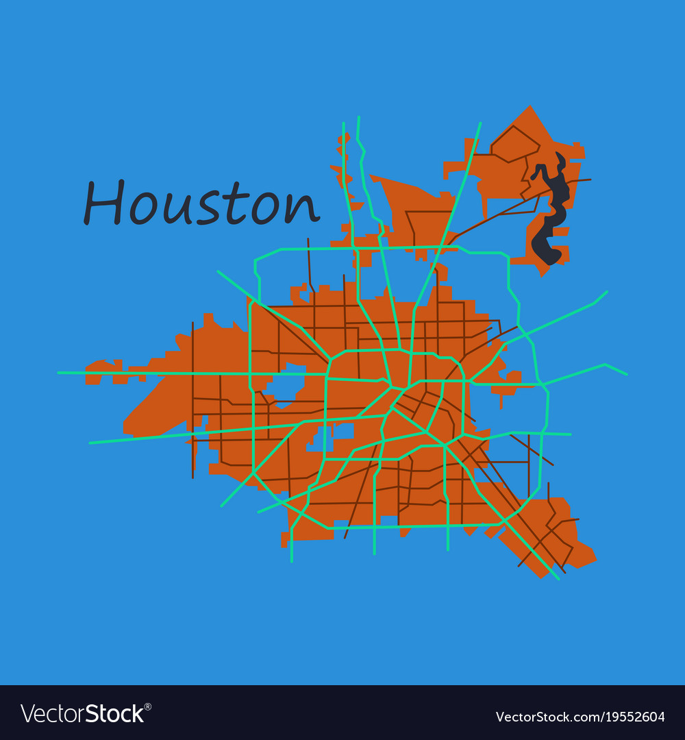 Flat Map Houston City Texas Roads Royalty Free Vector Image