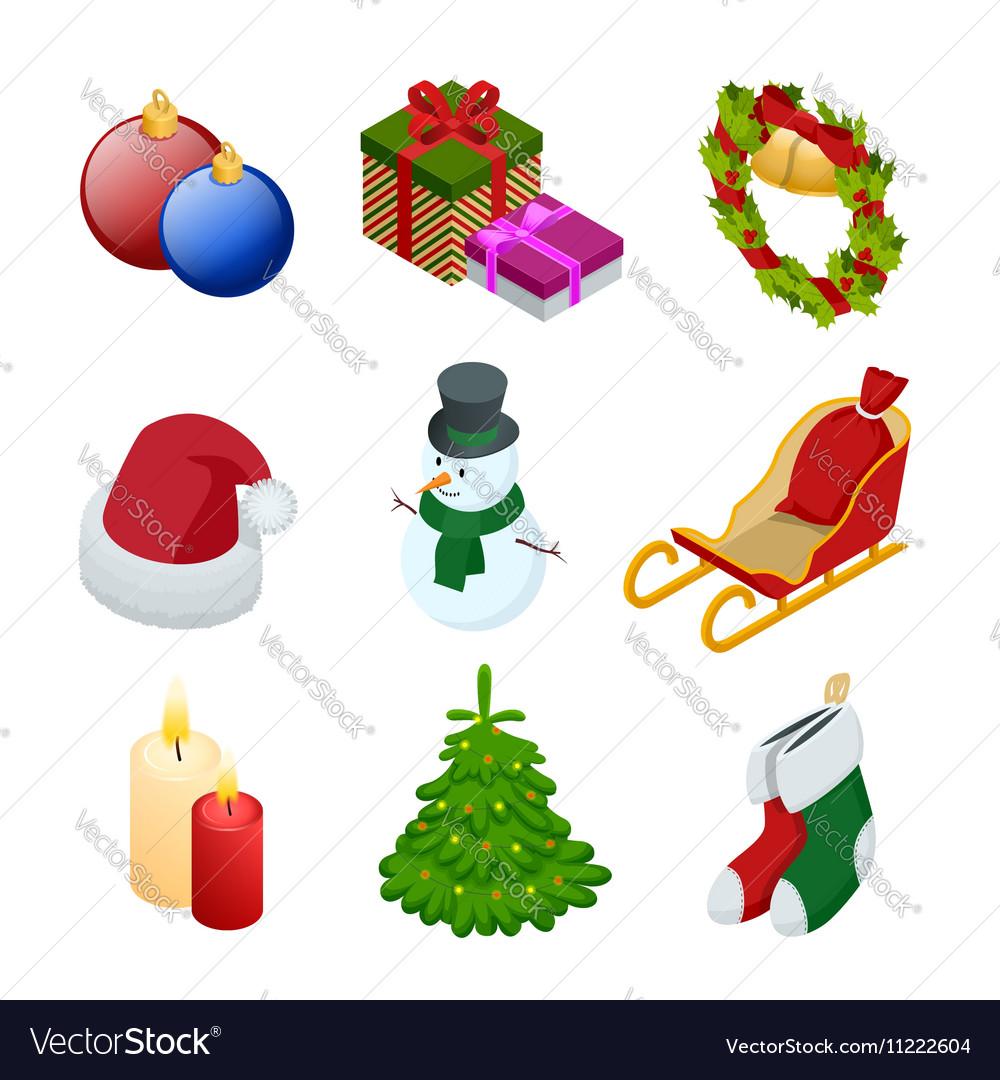 Isometric xmas elements gift christmas tree new vector image
