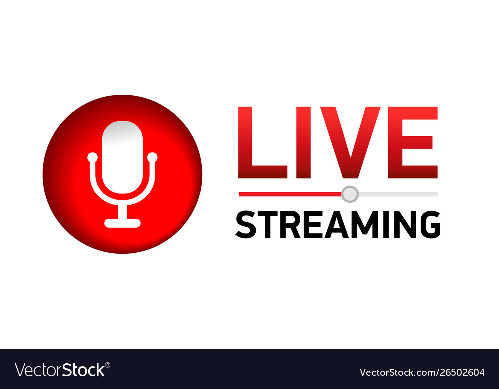 Live stream concept red symbol with microphone