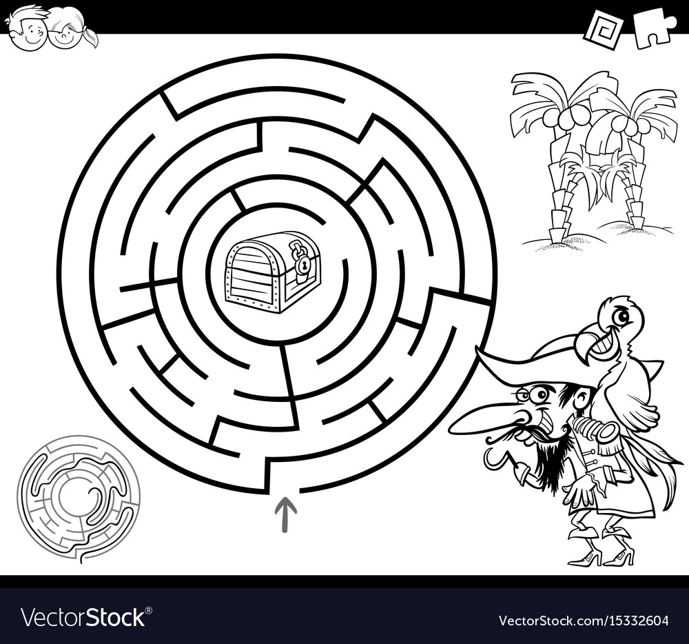Maze With Pirate Coloring Page Royalty Free Vector Image