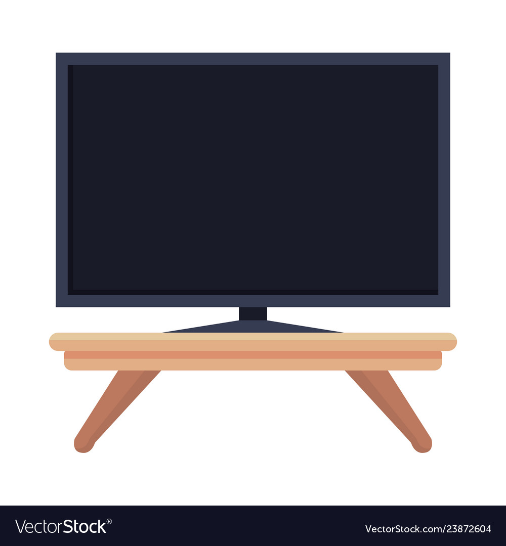 Plasma Tv In Wooden Table Royalty Free Vector Image