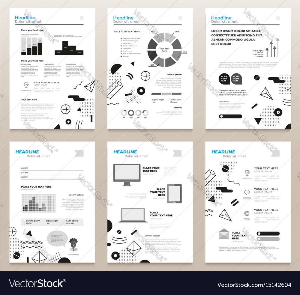presentation booklets bw template a4 royalty free vector