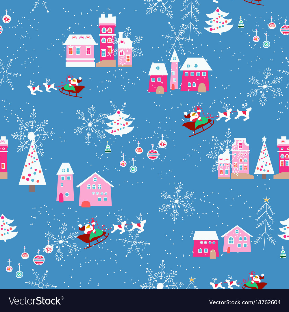 Seamless pattern with christmas city vector image