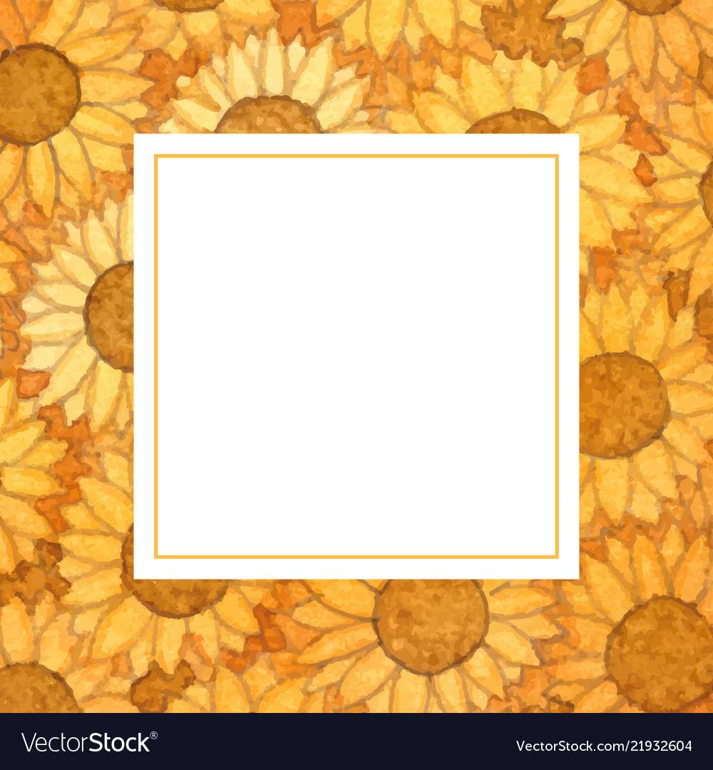 Sunflower ball watercolor banner card