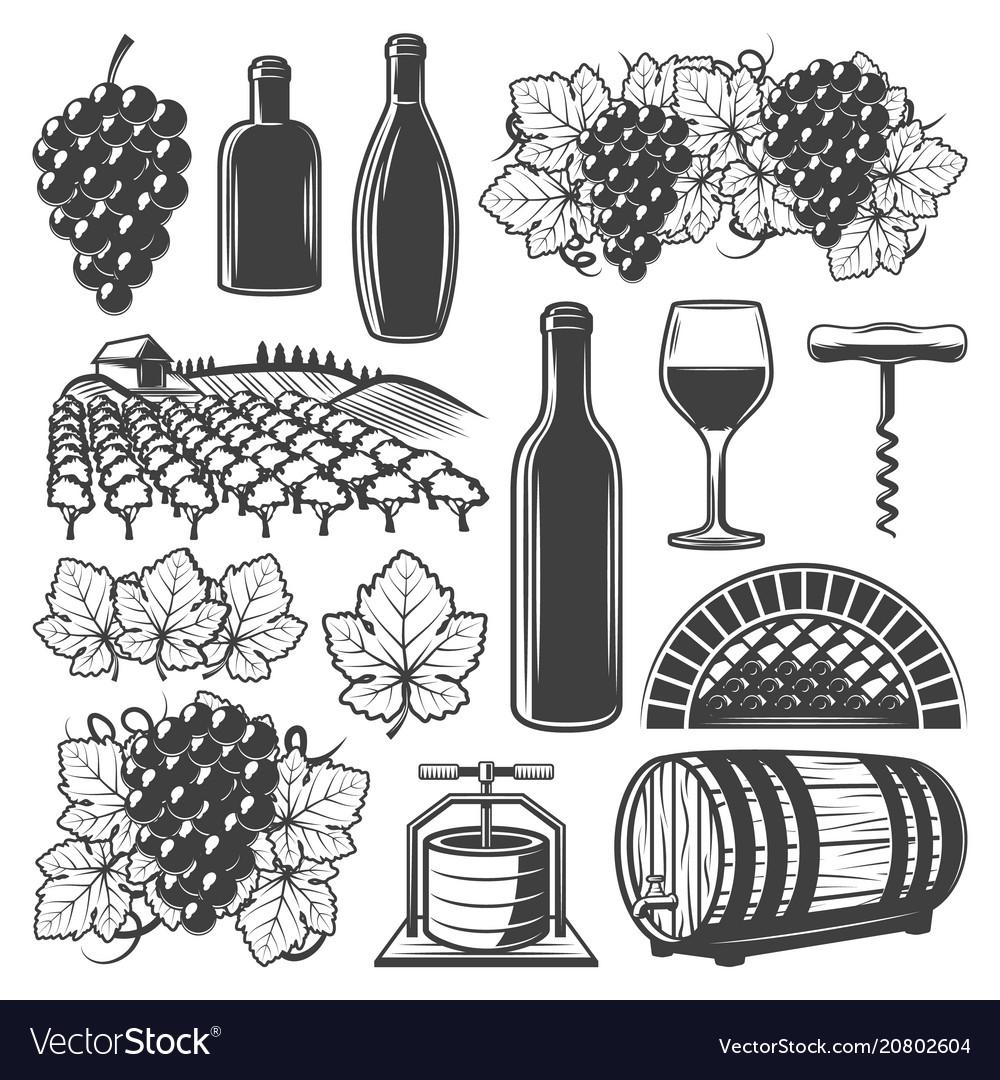 Vintage wine elements set