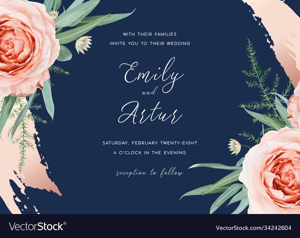 Wedding invite save date card design blush rose