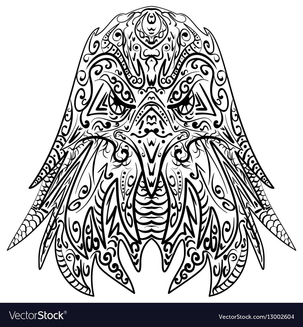 Zentangle stylized eagle head