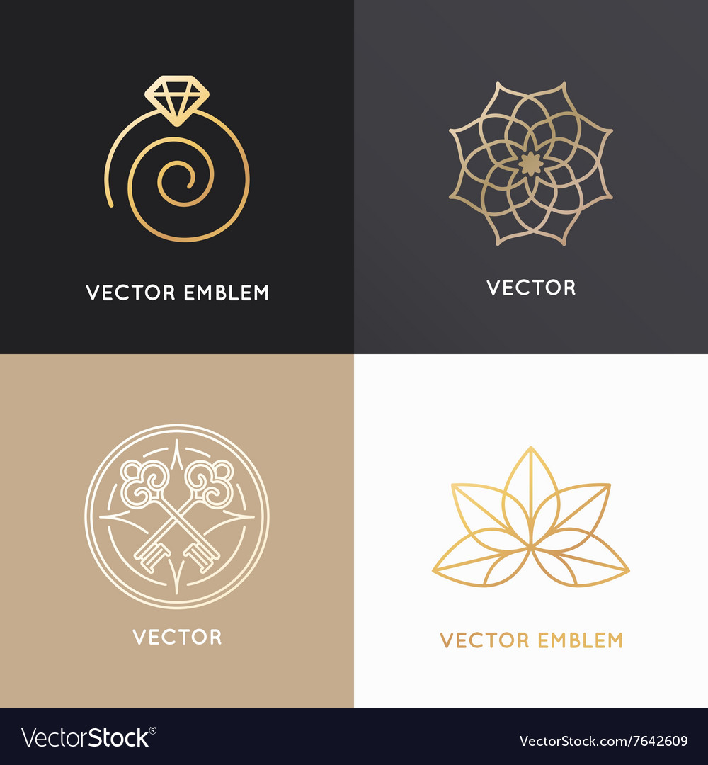 Abstract badges and emblems in trendy linear style
