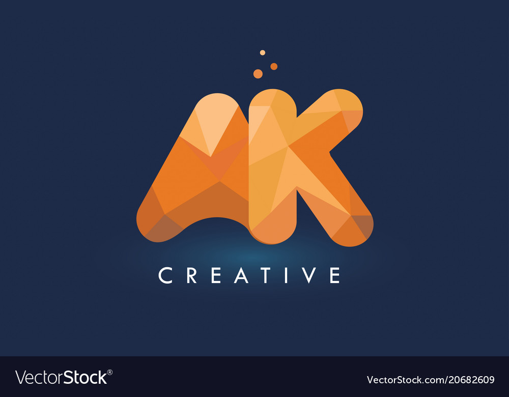 Ak letter with origami triangles logo creative