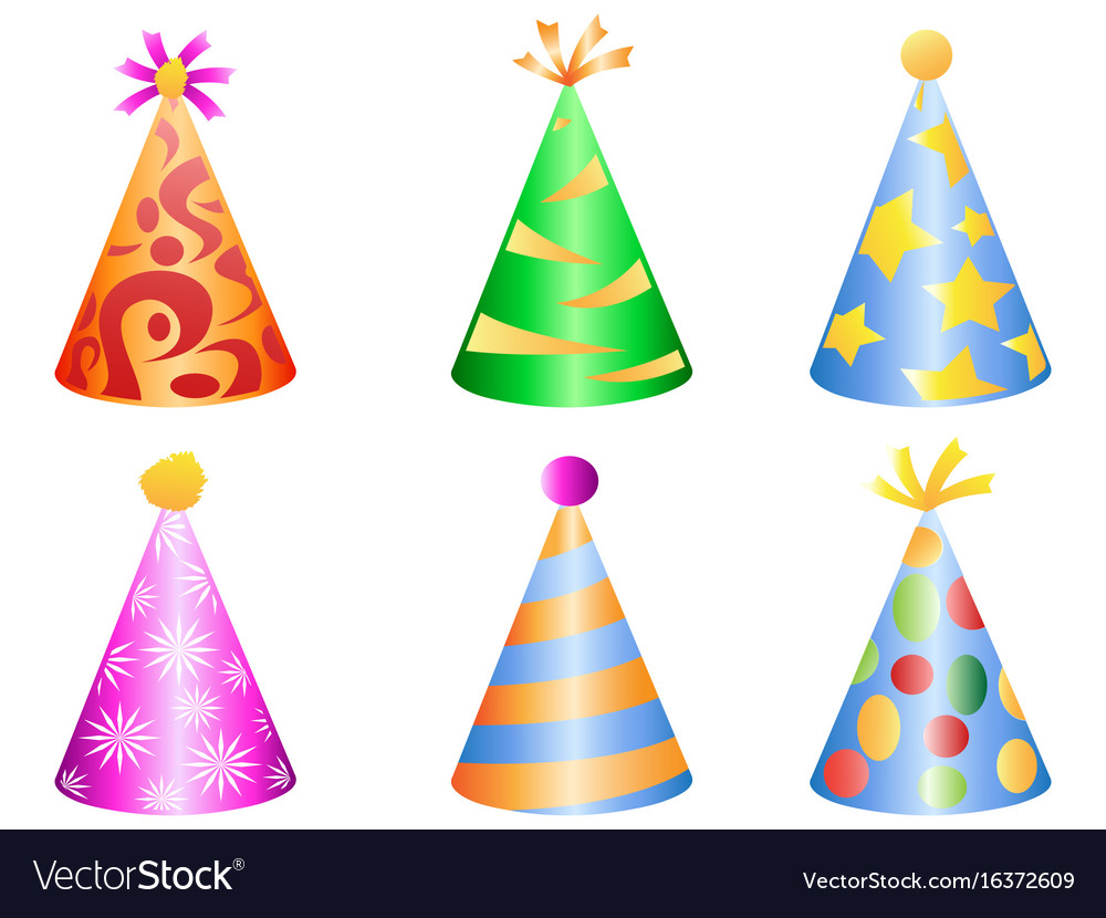 Colorful party hat icons
