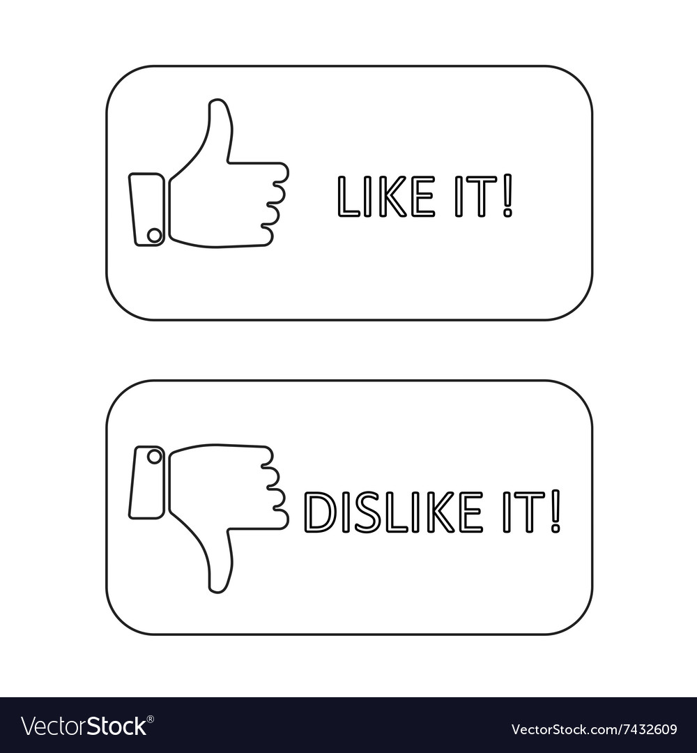 Like it and dislike symbol line style button
